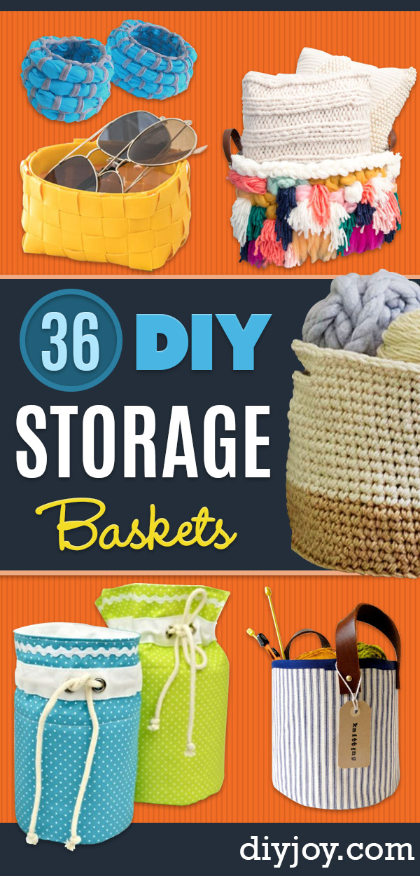 DIY Storage Baskets- Cheap and Easy Ideas for Getting Organized - Creative Home Decor on A Budget - Farmhouse, Modern and Rustic Basket Projects