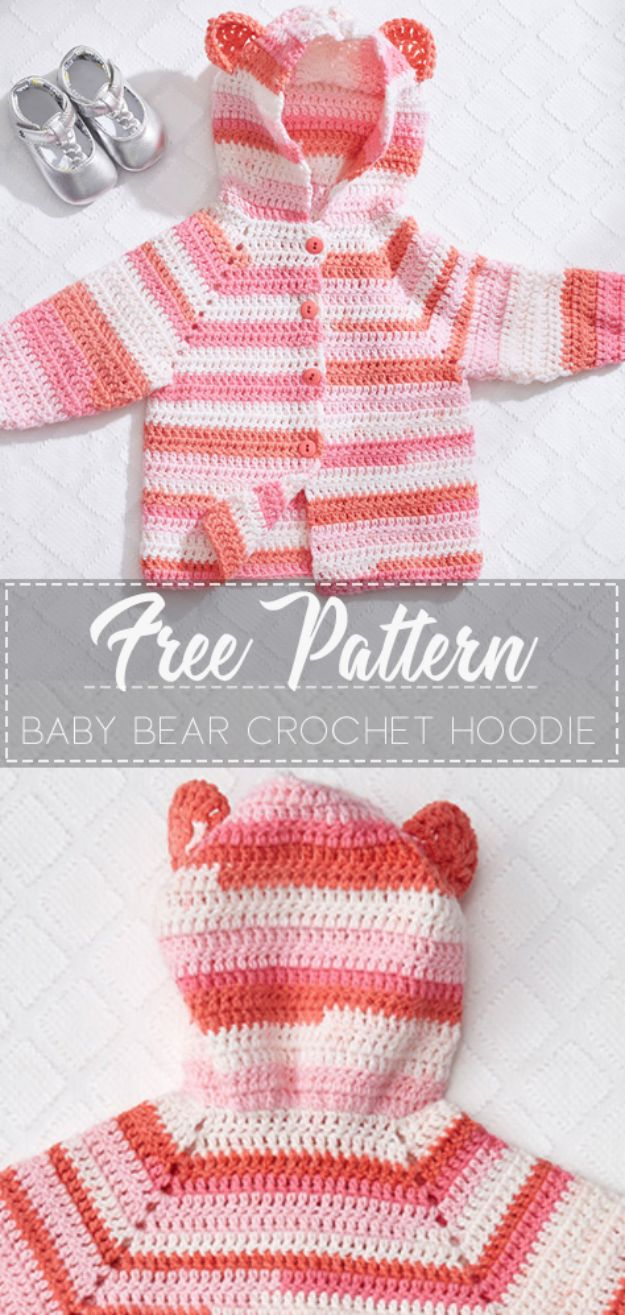 DIY Knitting Ideas for Baby - Baby Bear Crochet Hoodie - Easy Blanket, Hat, Booties, Toys and Sweater Tutorials to Knit for Babies - Boy and Girl Clothes and Nursery Decor for Gifts