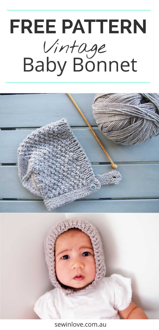 DIY Knitting Ideas for Baby - Baby Bonnet Hat Pattern – E-Wrap Method - Easy Blanket, Hat, Booties, Toys and Sweater Tutorials to Knit for Babies - Boy and Girl Clothes and Nursery Decor for Gifts