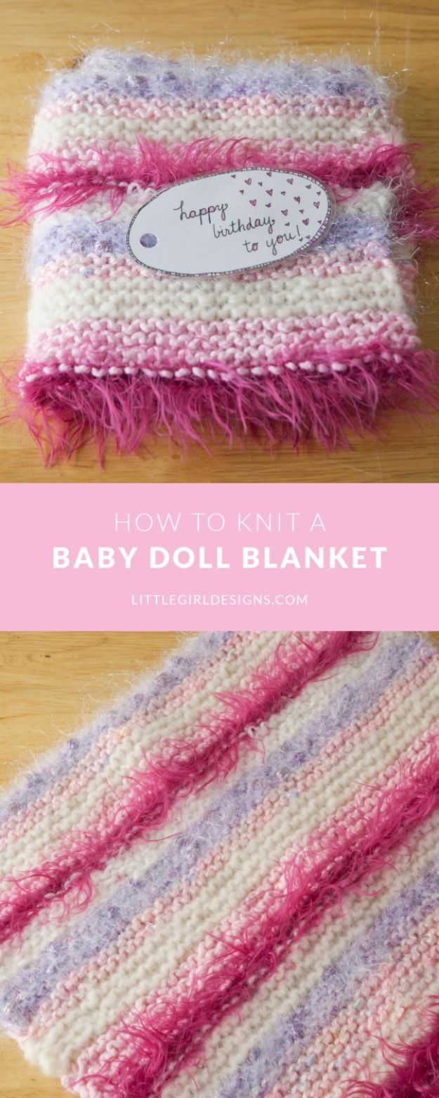 DIY Knitting Ideas for Baby - Baby Doll Blanket - Easy Blanket, Hat, Booties, Toys and Sweater Tutorials to Knit for Babies - Boy and Girl Clothes and Nursery Decor for Gifts