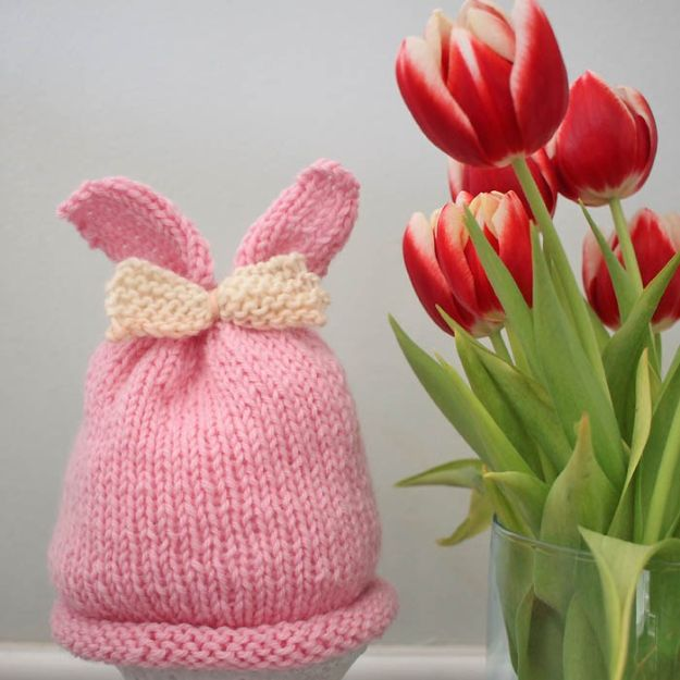 DIY Knitting Ideas for Baby - Baby Girl Bunny Ear Hat - Easy Blanket, Hat, Booties, Toys and Sweater Tutorials to Knit for Babies - Boy and Girl Clothes and Nursery Decor for Gifts