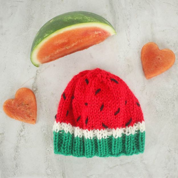 DIY Knitting Ideas for Baby - Baby Watermelon Hat - Easy Blanket, Hat, Booties, Toys and Sweater Tutorials to Knit for Babies - Boy and Girl Clothes and Nursery Decor for Gifts