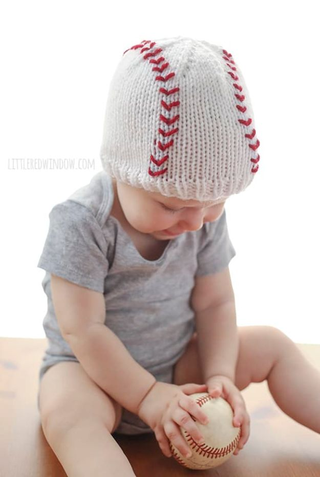 DIY Knitting Ideas for Baby - Baseball Baby Hat – E-Wrap Method - Easy Blanket, Hat, Booties, Toys and Sweater Tutorials to Knit for Babies - Boy and Girl Clothes and Nursery Decor for Gifts