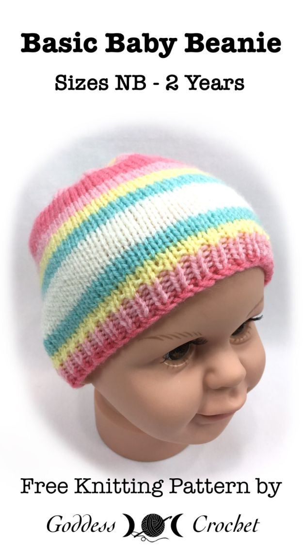 DIY Knitting Ideas for Baby - Basic Baby Beanie - Easy Blanket, Hat, Booties, Toys and Sweater Tutorials to Knit for Babies - Boy and Girl Clothes and Nursery Decor for Gifts