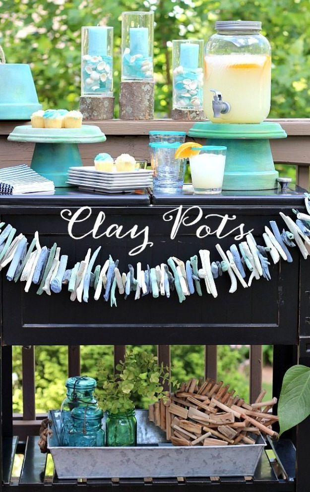 DIY Ideas for Clay Pots - Beverage Dispenser Stand - Cute Gardening Projects Tutorials for Decorating Pots - Pretty Rustic and Farmhouse Planters for Cheap Home Decor