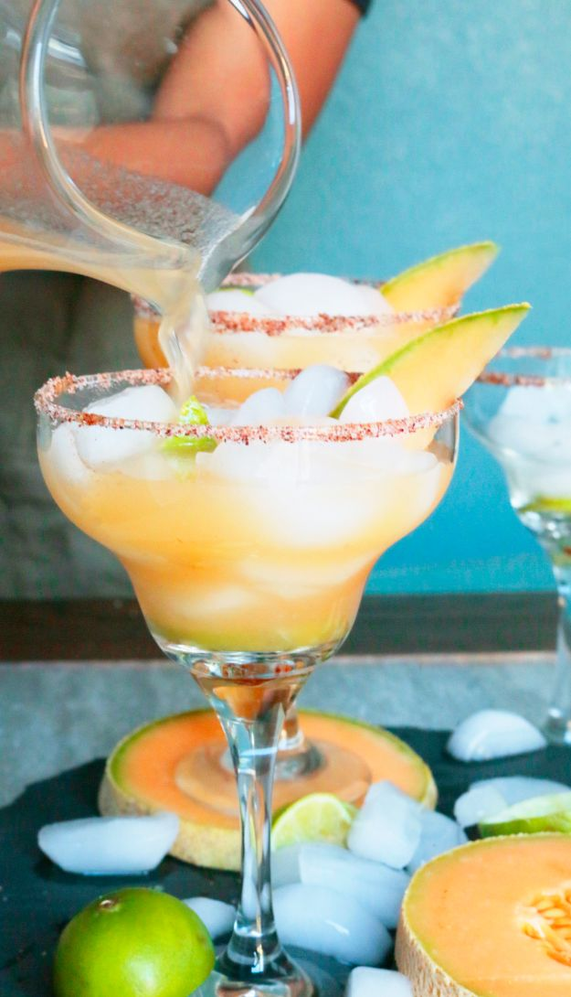 Margarita Recipes - Cantaloupe Margaritas - Drink Recipes for a Party - Recipe Ideas for Blender Margaritas - Lime, Strawberry, Fruit | Easy Drinks With Tequila