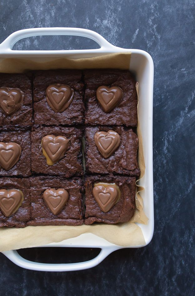 Brownie Recipes   Caramel Heart Brownies - Easy and Healthy Recipe Ideas for Brownies - Chocolate, Blondies, Gluten Free and Caramel