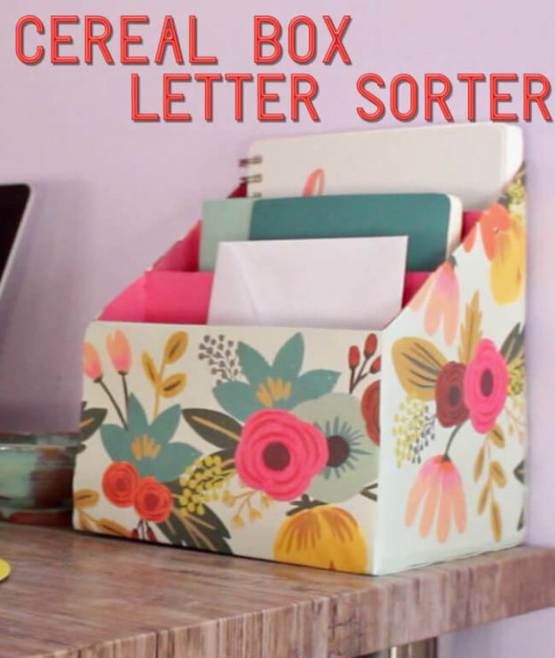 DIY Mail Organizers - Cereal Box Letter Sorter - Cheap and Easy Ideas for Getting Organized - Creative Home Decor on A Budget - Farmhouse, Modern and Rustic Mail Sorter, Organizer