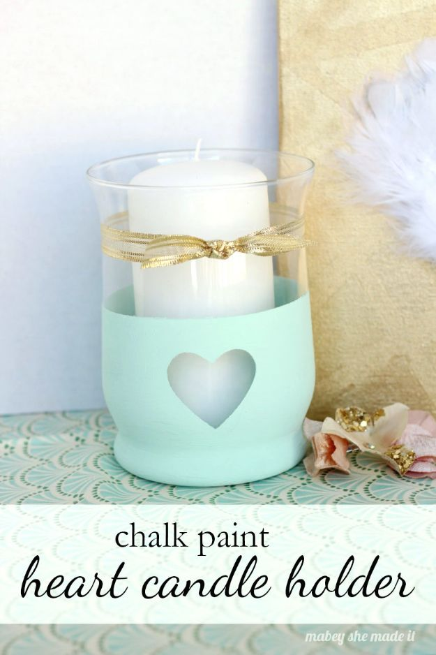 Easy Mothers Day Gifts - Chalk Paint Heart Candle Holder - Cute Crafts and Homemade Presents for Mom | Thoughtful Gift Ideas to Make For Mother