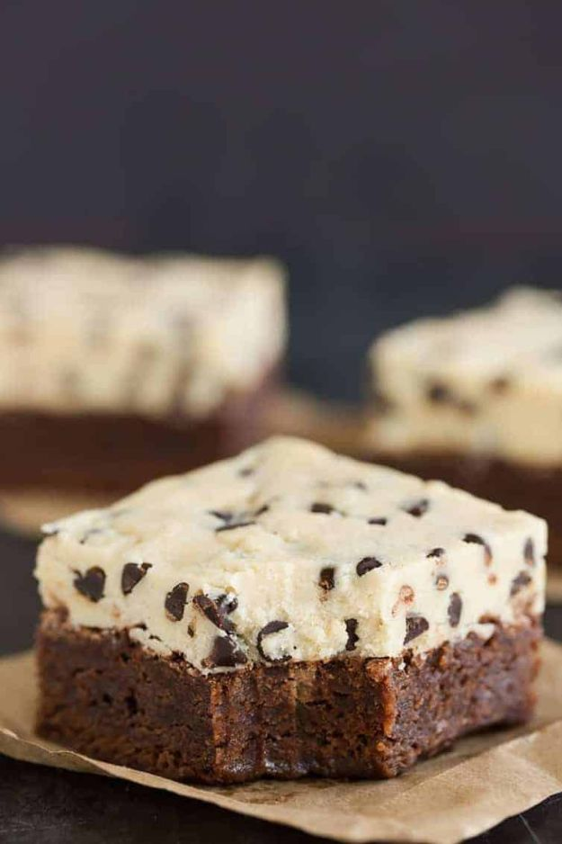 Brownie Recipes   Chocolate Chip Cookie Dough Brownies - Easy and Healthy Recipe Ideas for Brownies - Chocolate, Blondies, Gluten Free and Caramel