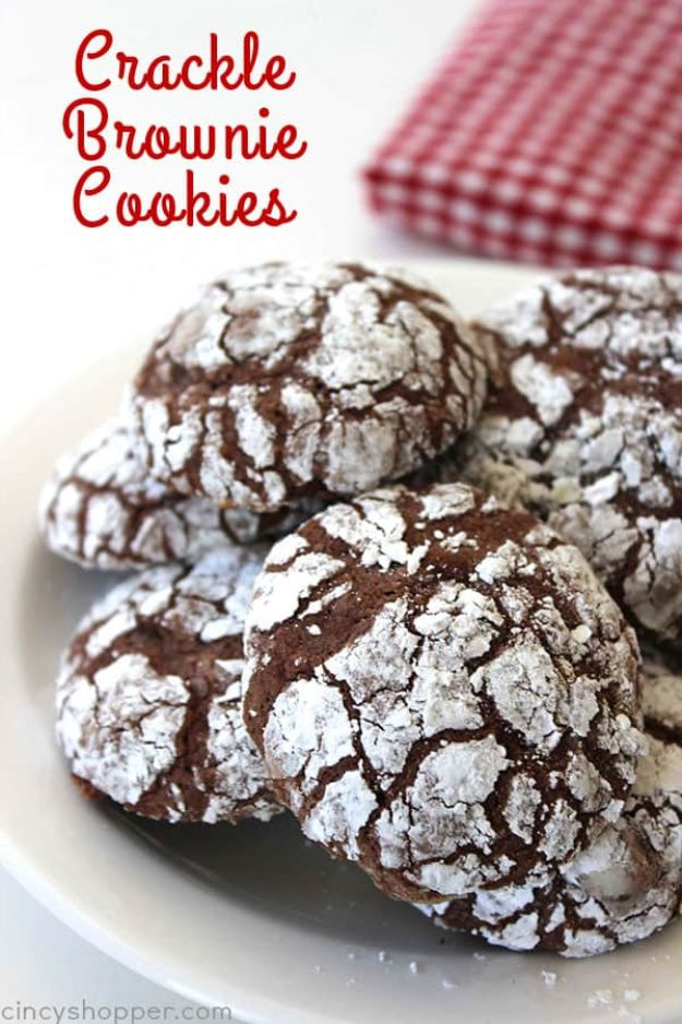 Brownie Recipes   Chocolate Crinkle Brownie Cookies - Easy and Healthy Recipe Ideas for Brownies - Chocolate, Blondies, Gluten Free and Caramel