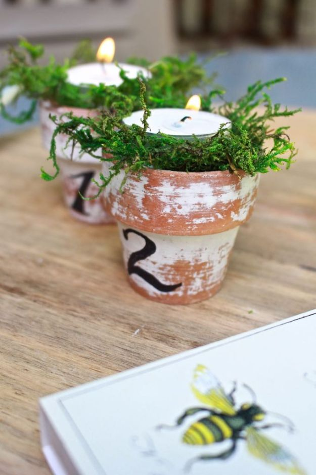 DIY Ideas for Clay Pots - Citronella Candles in Mini Clay Pots - Cute Gardening Projects Tutorials for Decorating Pots - Pretty Rustic and Farmhouse Planters for Cheap Home Decor