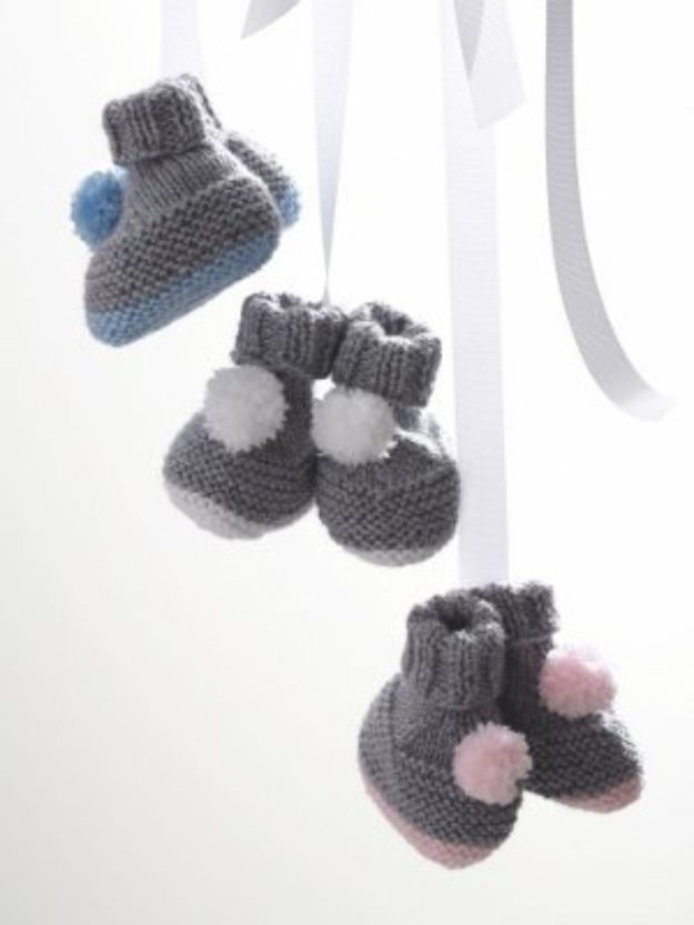 DIY Knitting Ideas for Baby - Cloud Puff Booties - Easy Blanket, Hat, Booties, Toys and Sweater Tutorials to Knit for Babies - Boy and Girl Clothes and Nursery Decor for Gifts