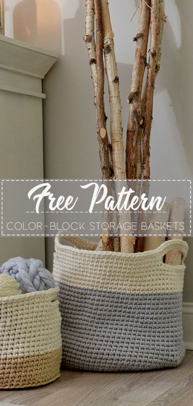 DIY Storage Baskets - Color-Block Storage Baskets - Cheap and Easy Ideas for Getting Organized - Creative Home Decor on A Budget - Farmhouse, Modern and Rustic Basket Projects