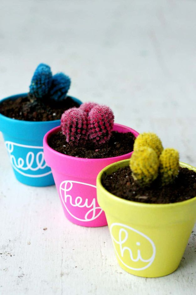 DIY Ideas for Clay Pots - Colorful Cactus Painted Pots - Cute Gardening Projects Tutorials for Decorating Pots - Pretty Rustic and Farmhouse Planters for Cheap Home Decor