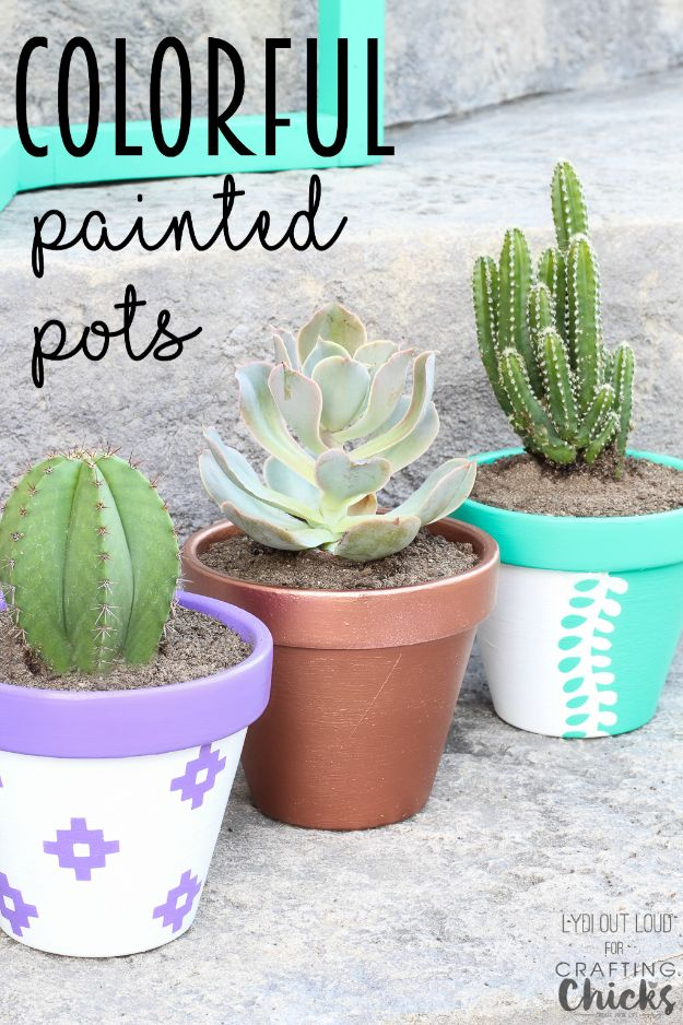 DIY Ideas for Clay Pots - Colorful Painted Clay Pots - Cute Gardening Projects Tutorials for Decorating Pots - Pretty Rustic and Farmhouse Planters for Cheap Home Decor