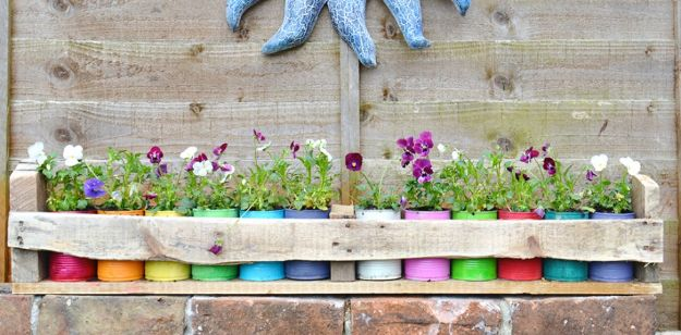DIY Ideas With Tin Cans - Colourful Tin Can Planters and Pallet Holder - Cheap and Easy Organizing Projects and Crafts Made With A Tin Can - Cool Teen Craft Tutorials and Home Decor