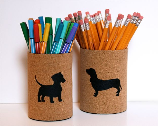 DIY Ideas With Tin Cans - Cork Covered Pencil Cups - Cheap and Easy Organizing Projects and Crafts Made With A Tin Can - Cool Teen Craft Tutorials and Home Decor