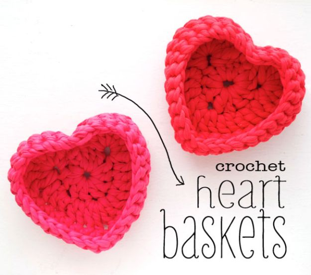 DIY Storage Baskets - Crochet Heart Shaped Storage Baskets - Cheap and Easy Ideas for Getting Organized - Creative Home Decor on A Budget - Farmhouse, Modern and Rustic Basket Projects