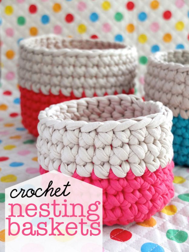 DIY Storage Baskets - Crochet Nesting Baskets - Cheap and Easy Ideas for Getting Organized - Creative Home Decor on A Budget - Farmhouse, Modern and Rustic Basket Projects