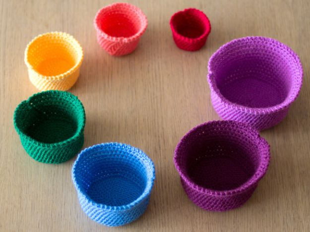 DIY Storage Baskets - Crochet a Gorgeous Set of Rainbow Nesting Baskets - Cheap and Easy Ideas for Getting Organized - Creative Home Decor on A Budget - Farmhouse, Modern and Rustic Basket Projects