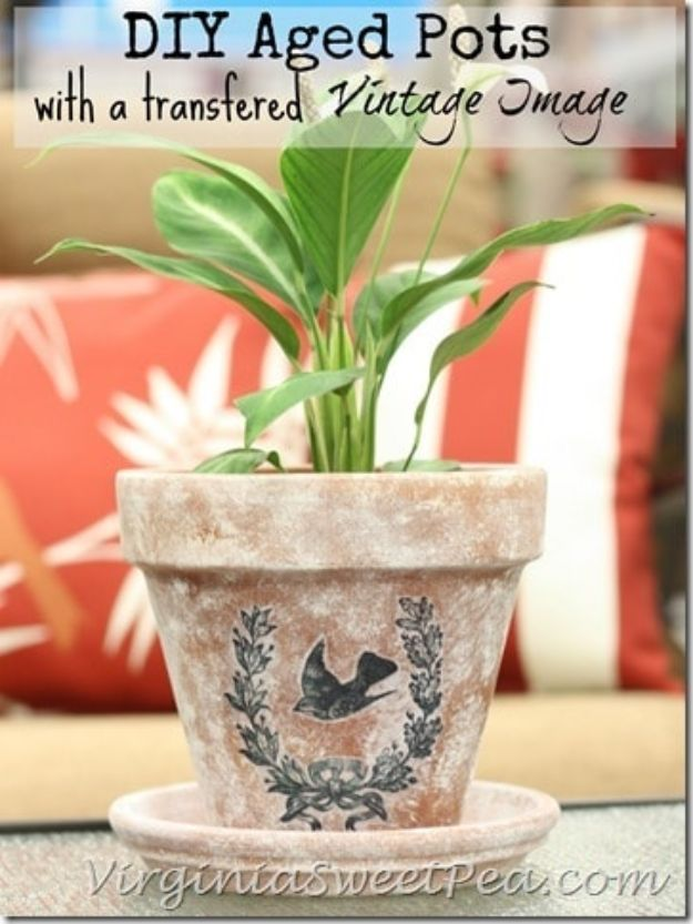 DIY Ideas for Clay Pots - DIY Aged Pots With a Vintage Image - Cute Gardening Projects Tutorials for Decorating Pots - Pretty Rustic and Farmhouse Planters for Cheap Home Decor