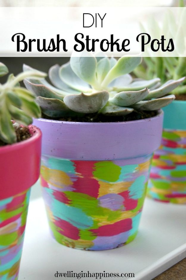 DIY Ideas for Clay Pots - DIY Brush Stroke Pots - Cute Gardening Projects Tutorials for Decorating Pots - Pretty Rustic and Farmhouse Planters for Cheap Home Decor