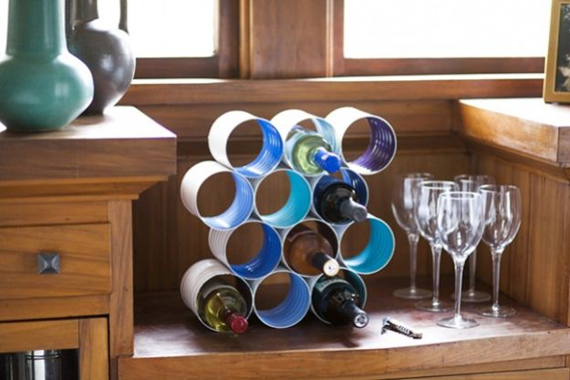 DIY Ideas With Tin Cans - DIY Color Block Wine Rack Made From Coffee Cans - Cheap and Easy Organizing Projects and Crafts Made With A Tin Can - Cool Teen Craft Tutorials and Home Decor