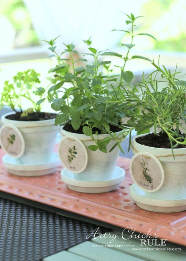 DIY Ideas for Clay Pots - DIY Decorative Clay Pots with Herbs - Cute Gardening Projects Tutorials for Decorating Pots - Pretty Rustic and Farmhouse Planters for Cheap Home Decor