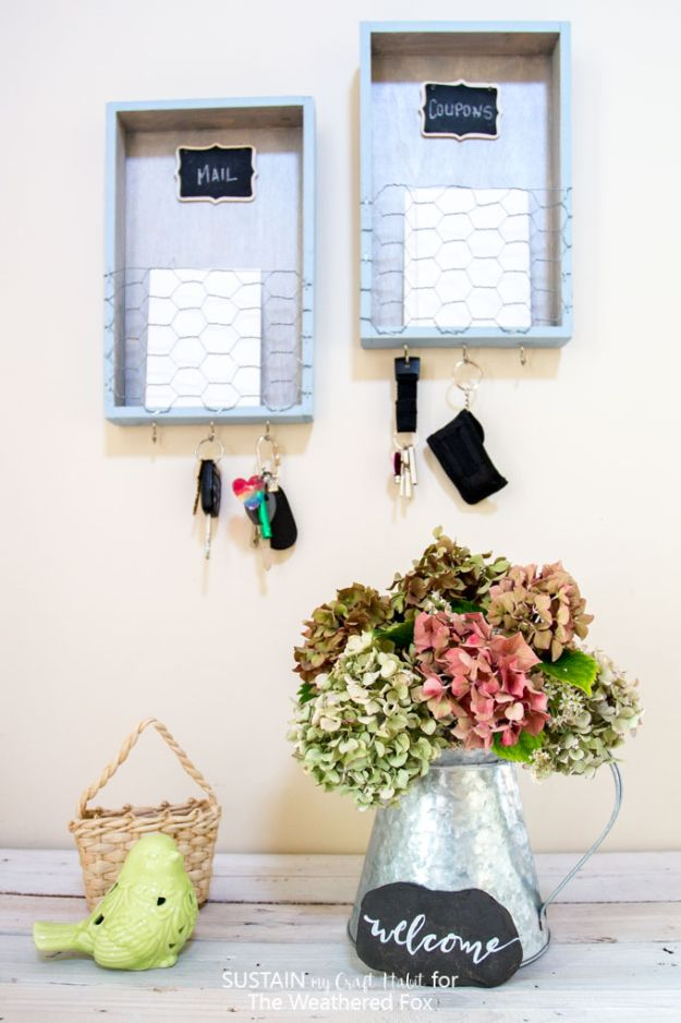 DIY Mail Organizers - DIY Farmhouse Entryway Organizer - Cheap and Easy Ideas for Getting Organized - Creative Home Decor on A Budget - Farmhouse, Modern and Rustic Mail Sorter, Organizer