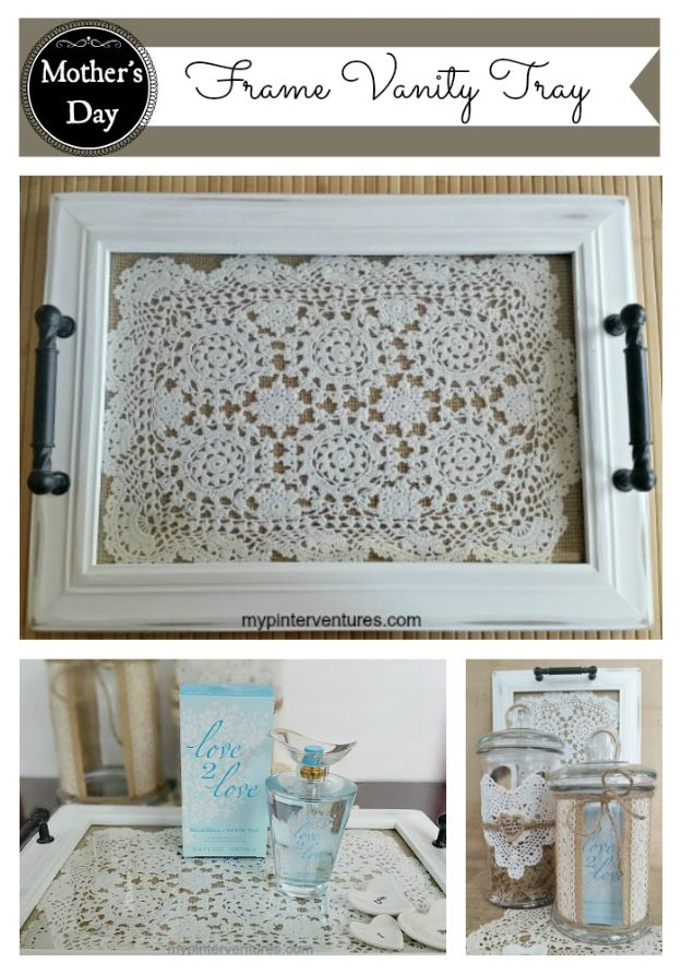 DIY Vanity Trays - DIY Frame Vanity Tray - Easy Homemade Decor for Bathroom, Bedroom and Vanities - Tray to Store Jewelry and Accessories With These Cool and Easy Crafts