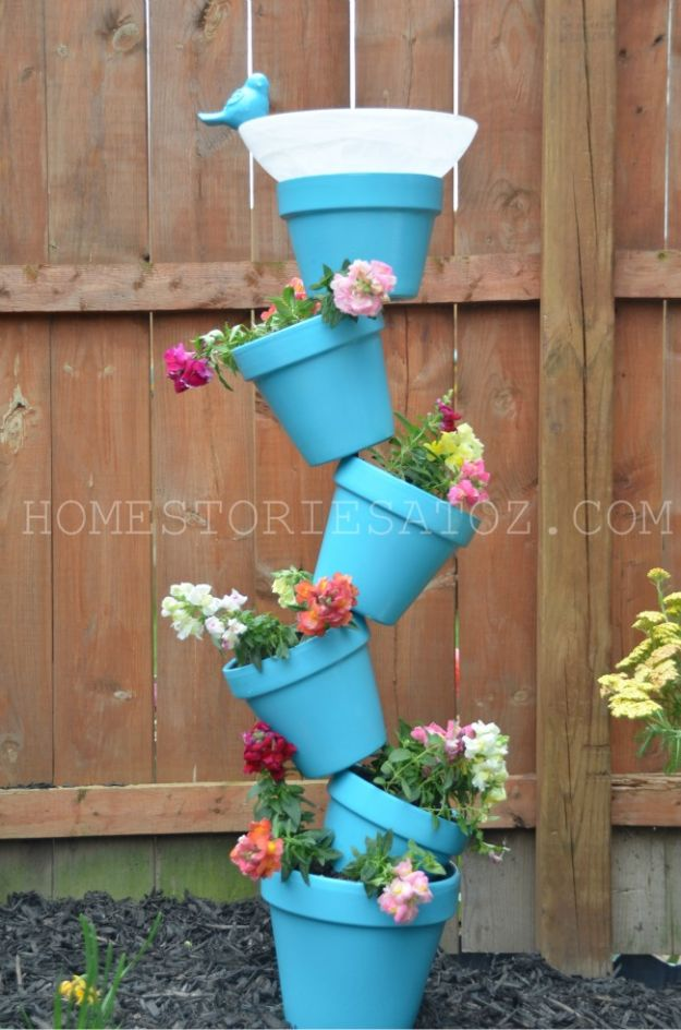 DIY Ideas for Clay Pots - DIY Garden Planter and Birdbath - Cute Gardening Projects Tutorials for Decorating Pots - Pretty Rustic and Farmhouse Planters for Cheap Home Decor