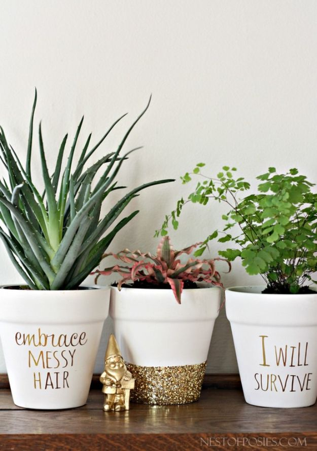DIY Ideas for Clay Pots - DIY Gold Foil Lettering on Flower Pots - Cute Gardening Projects Tutorials for Decorating Pots - Pretty Rustic and Farmhouse Planters for Cheap Home Decor