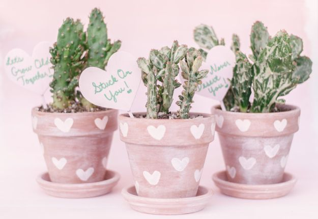 DIY Ideas for Clay Pots - DIY Heart Print Terra Cotta Cactus Pots - Cute Gardening Projects Tutorials for Decorating Pots - Pretty Rustic and Farmhouse Planters for Cheap Home Decor