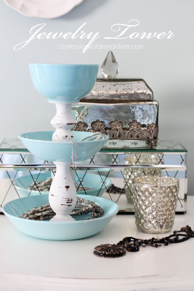 DIY Vanity Trays - DIY Jewelry Tower - Easy Homemade Decor for Bathroom, Bedroom and Vanities - Tray to Store Jewelry and Accessories With These Cool and Easy Crafts