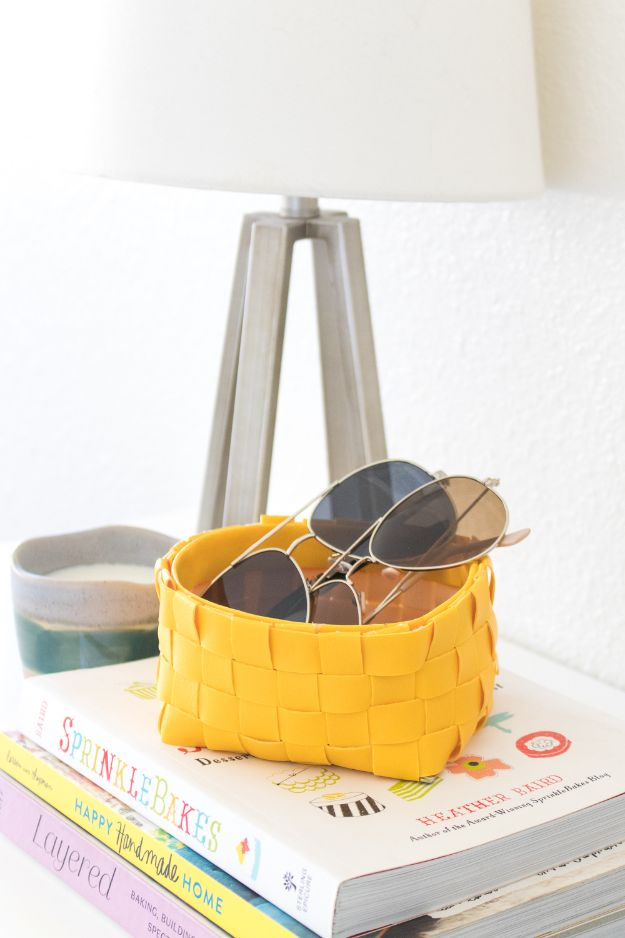 DIY Storage Baskets - DIY Leather Woven Storage Basket - Cheap and Easy Ideas for Getting Organized - Creative Home Decor on A Budget - Farmhouse, Modern and Rustic Basket Projects
