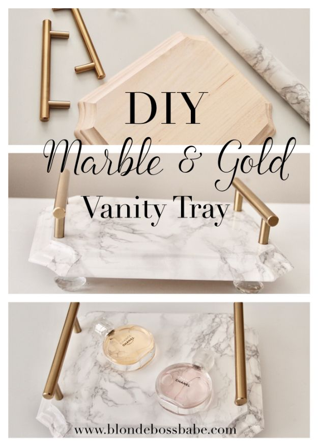 DIY Vanity Trays - DIY Marble & Gold Vanity Tray - Easy Homemade Decor for Bathroom, Bedroom and Vanities - Tray to Store Jewelry and Accessories With These Cool and Easy Crafts