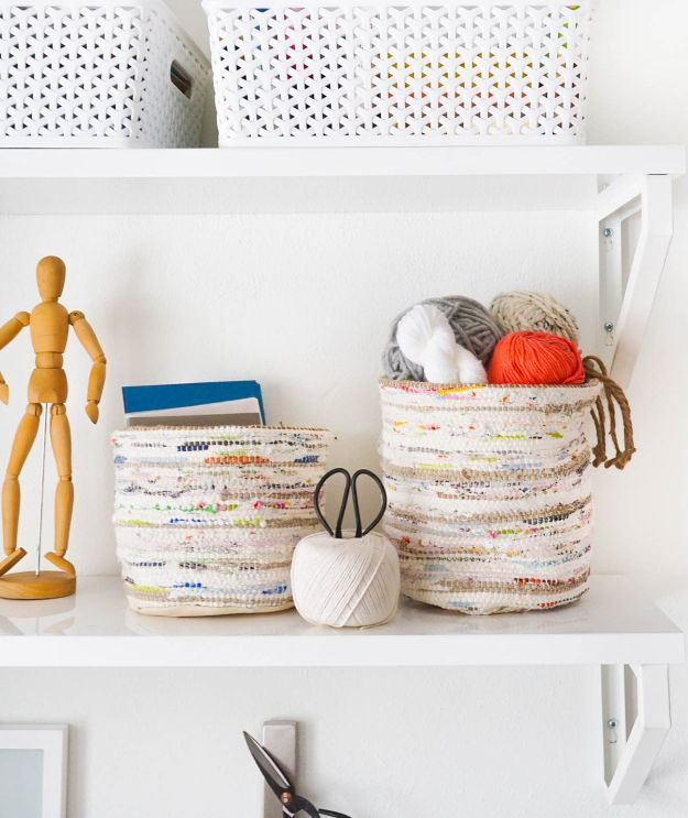 DIY Storage Baskets - DIY Rag Rug Storage Baskets - Cheap and Easy Ideas for Getting Organized - Creative Home Decor on A Budget - Farmhouse, Modern and Rustic Basket Projects
