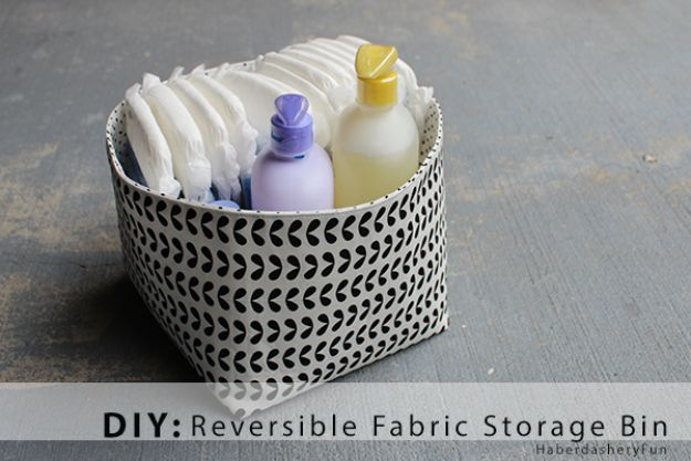 DIY Storage Baskets - DIY Reversible Fabric Storage Bins- Cheap and Easy Ideas for Getting Organized - Creative Home Decor on A Budget - Farmhouse, Modern and Rustic Basket Projects