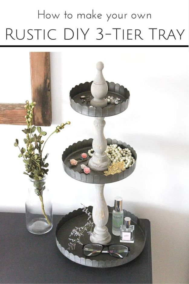 DIY Vanity Trays - DIY Rustic 3-Tier Tray - Easy Homemade Decor for Bathroom, Bedroom and Vanities - Tray to Store Jewelry and Accessories With These Cool and Easy Crafts