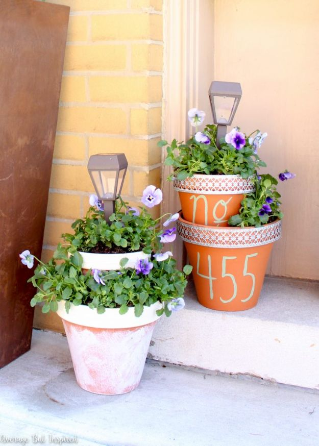 DIY Ideas for Clay Pots - DIY Solar Light Planters - Cute Gardening Projects Tutorials for Decorating Pots - Pretty Rustic and Farmhouse Planters for Cheap Home Decor