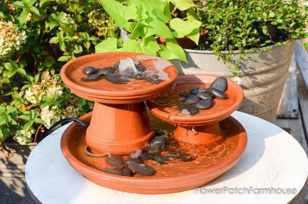 DIY Ideas for Clay Pots - DIY Terra Cotta Pot Fountain - Cute Gardening Projects Tutorials for Decorating Pots - Pretty Rustic and Farmhouse Planters for Cheap Home Decor