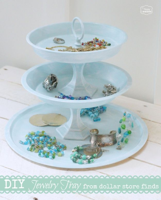 DIY Vanity Trays - DIY Tiered Jewelry Tray from Dollar Store Finds - Easy Homemade Decor for Bathroom, Bedroom and Vanities - Tray to Store Jewelry and Accessories With These Cool and Easy Crafts