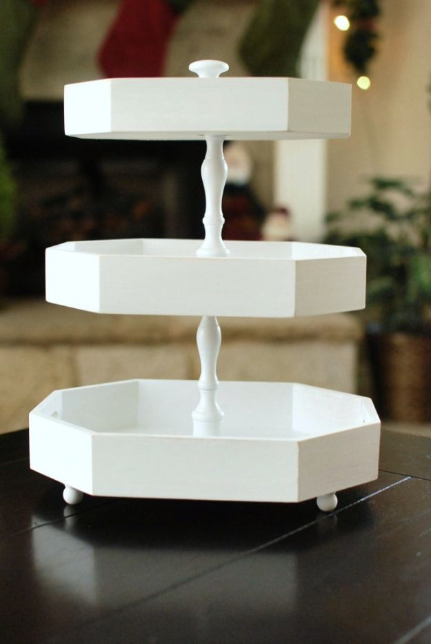 DIY Vanity Trays - DIY Tiered Stand - Easy Homemade Decor for Bathroom, Bedroom and Vanities - Tray to Store Jewelry and Accessories With These Cool and Easy Crafts