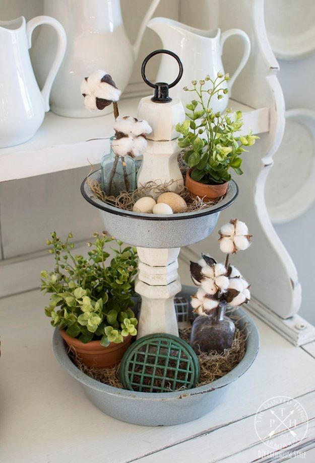 DIY Vanity Trays - DIY Tiered Tray From Repurposed Enamelware Bowls - Easy Homemade Decor for Bathroom, Bedroom and Vanities - Tray to Store Jewelry and Accessories With These Cool and Easy Crafts