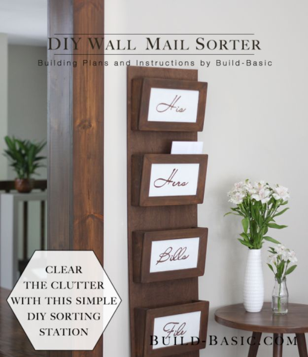 DIY Mail Organizers - DIY Wall Mail Sorter - Cheap and Easy Ideas for Getting Organized - Creative Home Decor on A Budget - Farmhouse, Modern and Rustic Mail Sorter, Organizer