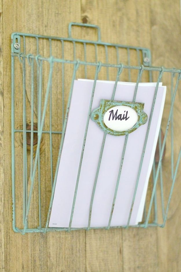 DIY Mail Organizers - DIY Wall Mail Wire Organizer - Cheap and Easy Ideas for Getting Organized - Creative Home Decor on A Budget - Farmhouse, Modern and Rustic Mail Sorter, Organizer