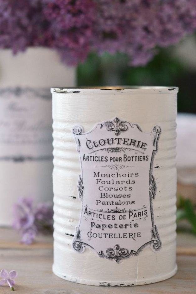 DIY Ideas With Tin Cans - Decoupage Tin Can Planters - Cheap and Easy Organizing Projects and Crafts Made With A Tin Can - Cool Teen Craft Tutorials and Home Decor