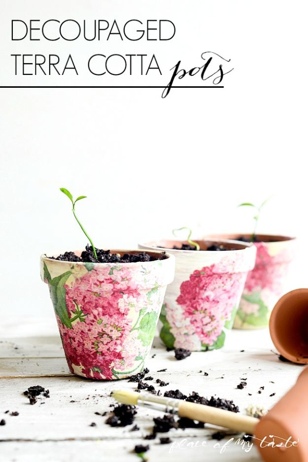 DIY Ideas for Clay Pots - Decoupaged Terra Cotta Pots - Cute Gardening Projects Tutorials for Decorating Pots - Pretty Rustic and Farmhouse Planters for Cheap Home Decor