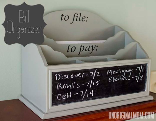 DIY Mail Organizers - Desktop Bill Organizer - Cheap and Easy Ideas for Getting Organized - Creative Home Decor on A Budget - Farmhouse, Modern and Rustic Mail Sorter, Organizer